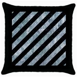 STRIPES3 BLACK MARBLE & ICE CRYSTALS (R) Throw Pillow Case (Black)