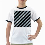 STRIPES3 BLACK MARBLE & ICE CRYSTALS (R) Ringer T-Shirts