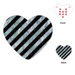 STRIPES3 BLACK MARBLE & ICE CRYSTALS (R) Playing Cards (Heart)