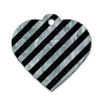 STRIPES3 BLACK MARBLE & ICE CRYSTALS (R) Dog Tag Heart (Two Sides)
