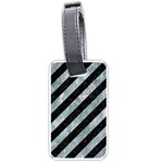 STRIPES3 BLACK MARBLE & ICE CRYSTALS (R) Luggage Tags (Two Sides)