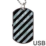 STRIPES3 BLACK MARBLE & ICE CRYSTALS (R) Dog Tag USB Flash (One Side)