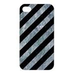 STRIPES3 BLACK MARBLE & ICE CRYSTALS (R) Apple iPhone 4/4S Premium Hardshell Case
