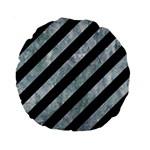 STRIPES3 BLACK MARBLE & ICE CRYSTALS (R) Standard 15  Premium Round Cushions