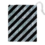 STRIPES3 BLACK MARBLE & ICE CRYSTALS (R) Drawstring Pouches (XXL)