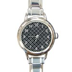 WOVEN2 BLACK MARBLE & ICE CRYSTALS (R) Round Italian Charm Watch