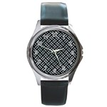 WOVEN2 BLACK MARBLE & ICE CRYSTALS (R) Round Metal Watch