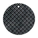 WOVEN2 BLACK MARBLE & ICE CRYSTALS (R) Ornament (Round)