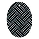 WOVEN2 BLACK MARBLE & ICE CRYSTALS (R) Ornament (Oval)