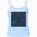 WOVEN2 BLACK MARBLE & ICE CRYSTALS (R) Baby Blue Spaghetti Tank