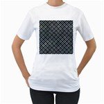 WOVEN2 BLACK MARBLE & ICE CRYSTALS (R) Women s T-Shirt (White) (Two Sided)