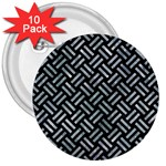 WOVEN2 BLACK MARBLE & ICE CRYSTALS (R) 3  Buttons (10 pack)
