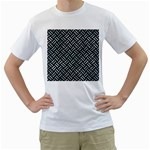 WOVEN2 BLACK MARBLE & ICE CRYSTALS (R) Men s T-Shirt (White) (Two Sided)