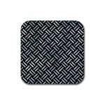 WOVEN2 BLACK MARBLE & ICE CRYSTALS (R) Rubber Coaster (Square)