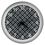 WOVEN2 BLACK MARBLE & ICE CRYSTALS (R) Wall Clocks (Silver)