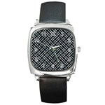WOVEN2 BLACK MARBLE & ICE CRYSTALS (R) Square Metal Watch