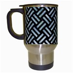 WOVEN2 BLACK MARBLE & ICE CRYSTALS (R) Travel Mugs (White)