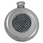 WOVEN2 BLACK MARBLE & ICE CRYSTALS (R) Round Hip Flask (5 oz)