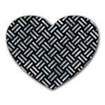 WOVEN2 BLACK MARBLE & ICE CRYSTALS (R) Heart Mousepads