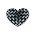 WOVEN2 BLACK MARBLE & ICE CRYSTALS (R) Rubber Coaster (Heart)