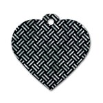 WOVEN2 BLACK MARBLE & ICE CRYSTALS (R) Dog Tag Heart (One Side)
