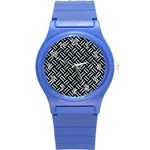 WOVEN2 BLACK MARBLE & ICE CRYSTALS (R) Round Plastic Sport Watch (S)