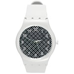 WOVEN2 BLACK MARBLE & ICE CRYSTALS (R) Round Plastic Sport Watch (M)