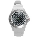 WOVEN2 BLACK MARBLE & ICE CRYSTALS (R) Round Plastic Sport Watch (L)