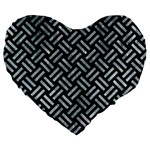 WOVEN2 BLACK MARBLE & ICE CRYSTALS (R) Large 19  Premium Heart Shape Cushions