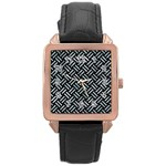 WOVEN2 BLACK MARBLE & ICE CRYSTALS (R) Rose Gold Leather Watch