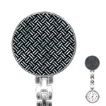 WOVEN2 BLACK MARBLE & ICE CRYSTALS (R) Stainless Steel Nurses Watch