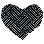 WOVEN2 BLACK MARBLE & ICE CRYSTALS (R) Large 19  Premium Flano Heart Shape Cushions