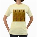 Japanese Geisha with Cat illustration Women s Yellow T-Shirt