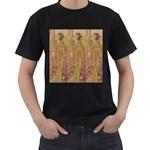 Japanese Geisha with Cat illustration Men s T-Shirt (Black)