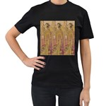 Japanese Geisha with Cat illustration Women s T-Shirt (Black)