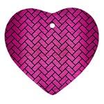 BRICK2 BLACK MARBLE & PINK BRUSHED METAL Ornament (Heart)