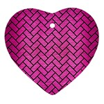 BRICK2 BLACK MARBLE & PINK BRUSHED METAL Heart Ornament (Two Sides)