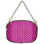 BRICK2 BLACK MARBLE & PINK BRUSHED METAL Chain Purses (Two Sides)