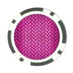 BRICK2 BLACK MARBLE & PINK BRUSHED METAL Poker Chip Card Guard (10 pack)