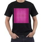 BRICK2 BLACK MARBLE & PINK BRUSHED METAL Men s T-Shirt (Black)