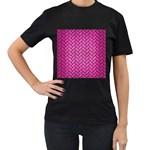 BRICK2 BLACK MARBLE & PINK BRUSHED METAL Women s T-Shirt (Black)