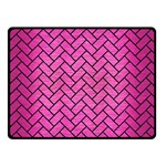 BRICK2 BLACK MARBLE & PINK BRUSHED METAL Double Sided Fleece Blanket (Small)