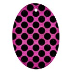 CIRCLES2 BLACK MARBLE & PINK BRUSHED METAL Ornament (Oval)