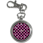 CIRCLES2 BLACK MARBLE & PINK BRUSHED METAL Key Chain Watches