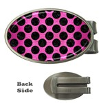 CIRCLES2 BLACK MARBLE & PINK BRUSHED METAL Money Clips (Oval)