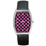 CIRCLES2 BLACK MARBLE & PINK BRUSHED METAL Barrel Style Metal Watch