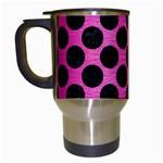 CIRCLES2 BLACK MARBLE & PINK BRUSHED METAL Travel Mugs (White)