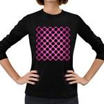 CIRCLES2 BLACK MARBLE & PINK BRUSHED METAL Women s Long Sleeve Dark T-Shirts