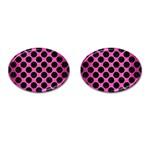 CIRCLES2 BLACK MARBLE & PINK BRUSHED METAL Cufflinks (Oval)