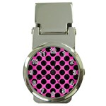 CIRCLES2 BLACK MARBLE & PINK BRUSHED METAL Money Clip Watches